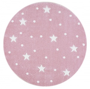 KIDS LOVE RUGS Dywan okrągły GALAXY pink/white 133 cm