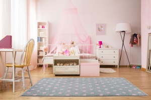 KIDS LOVE RUGS Dywan DOTS grey/pink 160x230