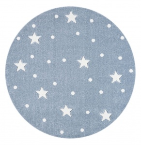 KIDS LOVE RUGS Dywan okrągły GALAXY blue/white 133 cm