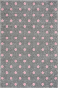 KIDS LOVE RUGS Dywan DOTS grey/pink 120x170